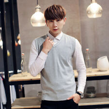 Mens Sweater Knitted Vest Warm V Neck Sleeveless Pullover Tops Soft Shirt HOT