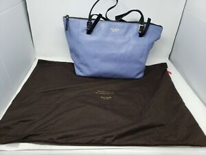 EUC Kate Spade Polly Large Leather Tote Shoulder Bag Purse Periwinkle Blue