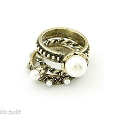 Bellissimo tris di anelli vintage colore con perle bianche  - Bronzo