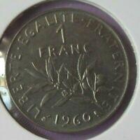 1 franc Semeuse 1960 petit 0 : SUP : pièce de monnaie française N19