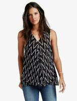 Lucky Brand Women's S Black Zigzag Vine Top Blouse Size Small