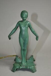 Antique Frankart Style Art Deco Female Figural Nude Lamp