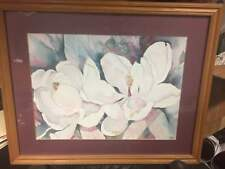 Vintage Magnolias Blooms Fine Art Print Water Color Litho by artist Terry Madden
