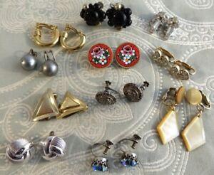 Vintage Earrings - 11 Pairs Of Clip Ons