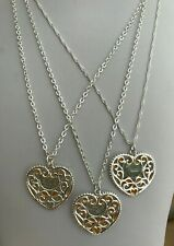 Silver Plated Filigree Heart Pendants with added Resin on Silver Plated Chains