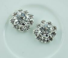 5/8 inch  metal Flatback rhinestone buttons embellishment  set of 2