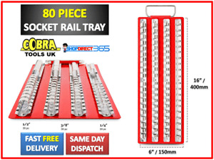 "80pc Socket Rail Tray Holder Rack Storage Red Shallow Deep 1/4"" 3/8"" 1/2"" (31-5)"