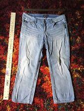 Silver Suki Capri Size 16 Light Blue Denim Jean Cropped Cuff