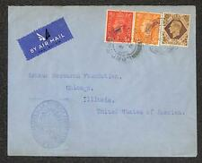 ENGLAND STAMPS TO ILLINOIS ARGENTINA DIPLOMATIC MAIL AIRMAIL COVER 1944