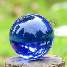 Blue Asian Rare Natural Quartz Magic Crystal Healing Ball Sphere 80mm Stand Gift