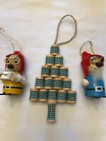 """Lot of 3  Vintage Wood and Felt Ornaments Ski """" Tree 6"""""""
