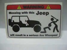 JEEP FUNNY WARNING STICKER DECAL CHOPPER BOBBER  TATTOO
