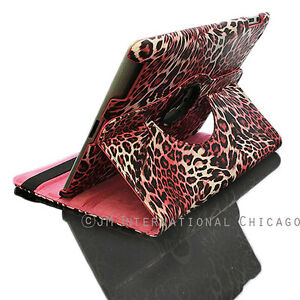 For iPad 2nd 3rd 4th Pink Leopard 360 Degree Rotating Leather Case Cover Pink