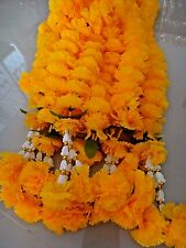 THAI SPECIAL 8 ft LONG FLOWERS GOLD BRASS GARLAND COLOR YELLOW PLASTIC WORSHIP