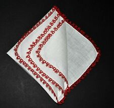 vintage handkerchief Hand Tatted Hanky red white Shabby Cottage Chic unused Nice