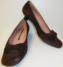 FRATELLI ROSSETTI BROWN SUEDE SHOES WITH A BOW WOMENS SIZE 8 M MADE IN ITALY EUC