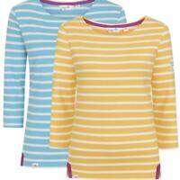 Womens Lazy Jacks LJ97S 3/4 Sleeve Breton Stripe Breton Ladies Top Blue Yellow