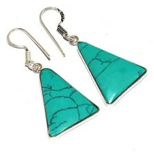Mm-40715 Turquoise 925 Silver Plated Earrings 1.8""
