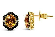 Le Vian ® pendientes-citrina, Cuarzo ahumado, Vainilla diamantes ® - 14K Miel Oro ™
