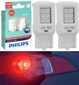 Philips Ultinon LED Light 7440 Red Two Bulbs Back Up Reverse Replacement OE Fit