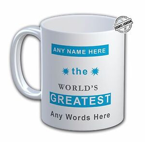 Personalised WORLDS GREATEST MUG Cup & Coaster.Name and Text - IL 7048