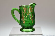 ca 1895 COBB AKA EAR OF CORN by U.S. Glass Co.  GREEN w/GOLD Creamer