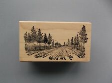 100 PROOF PRESS RUBBER STAMPS TREE LINED LANE NEW wood STAMP