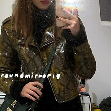 NWT Zara Snake Skin Faux Leather Biker Jacket Coat Blazer M RRP £ 79.99