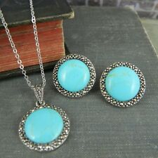 Round Turquoise & Marcasite in Sterling Silver Necklace & Earrings Set