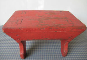 """Antique Foot Stool, Vintage Wood Old Red Paint, 12.5"""" Mortise Tenon Square Nails"""
