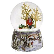 Roman Merry Xmas Snowy Woodland Scene Music Snow Globe Glitterdome Plays O Xmas
