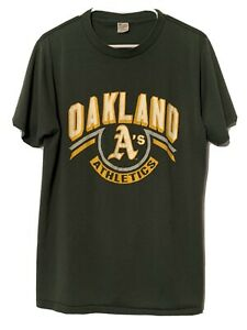 Vintage 80s Oakland Athletics A's T Shirt L XL Champion Brand 50/50 Green 1980s