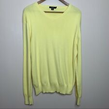 J. Crew Pale Yellow 100% Pima Cotton Light Weight V-Neck Sweater Size Large