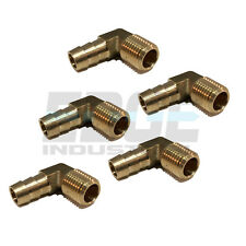 (5 Pieces) 3/8 HOSE BARB ELBOW X 1/4 MALE NPT Brass Pipe Fitting Gas Fuel Water