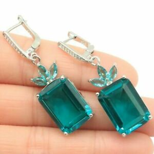Beautiful Earring With Rich Blue Aquamarine And The White of The Cubic Zirconia