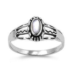 Fine Women 9mm 925 Silver Freshwater Cultured Mother of Pearl Ladies Ring Band