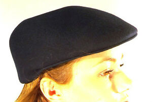 Flat Cap Brand New Black 100% Wool Felt Hat