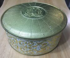 Vintage Guildcraft Ornate Cookie Sewing Tin White And Gold Metalware NY USA