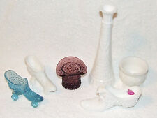 6 PC FENTON LOT HOBNAIL DAISY & BUTTON ART GLASS ROLLER SKATES TOP HAT BOOT VASE