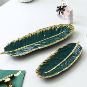 1 Pc Nordic Style Green Banana Leaf Shape Ceramic Tray Porcelain Dessert Platter