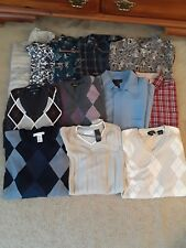 MEN'S SWEATERS-SHORT SLEEVE BUTTON DOWN SHIRTS-T-SHIRTS- LOT OF 15 pieces-SIZE L