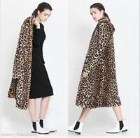 Cool Tiger Leopard Print Faux Fur  Long Women's Trench Coat Jacket Overcoat Sz@@