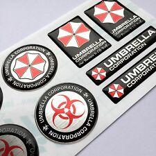 Umbrella Corp. Resident Evil 3d domed decal stickers polished aluminium 13pcs