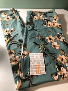 Lularoe TC Mint Green With Cream Tan Flowers Leggings New Release
