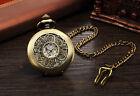 Men's Vintage Mechanical Pocket Watch Bronze Carved Steampunk Vintage Hand-Wind