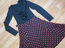 ladies sz 8 kookai top, polka dot skirt & thick leather belt rockabilly