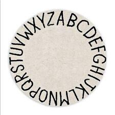 Lorena Canals Vintage ABC Area Rug 5' Round Nursery Alphabet Cream Black Play