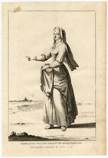 Antique Print-JEWISH WOMAN-COSTUME-CLOTHES-JEWS-ISRAEL-HEBREW-Calmet-1725