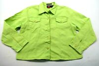 Bill Blass Womens XLarge Top Stretch Long Sleeve Neon Green Denim Shirt Jacket