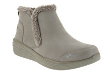 Ryka Faux Fur Wedge Ankle Boots - Namaste Gray Booties Women's 6 New